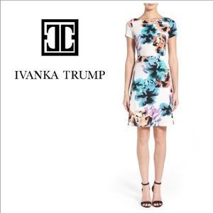 Ivanka Trump Scuba Fit & Flare Dress in Pink/Brown